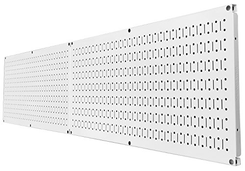Wall Control Pegboard Rack Steel Pegboard Pack White Peg Boards – Two 32-Inch x 16-Inch White Metal Pegboard Panels by Wall Control (Image #2)