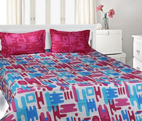 Trident Designer Solid,Traditional,Geometric 100% Cotton Double Bed sheet With 2 Pillow Covers- Pink,Purple & Blue
