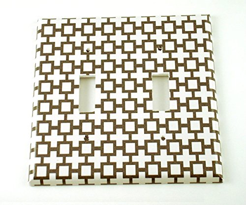 Double 2 Gang Toggle Switch Plate, Black and White Symbol Pattern (182D) (Symbol Switch)