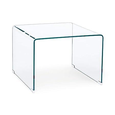 ARREDinITALY Mesa Auxiliar Cuadrado de Cristal Transparente 60 X ...