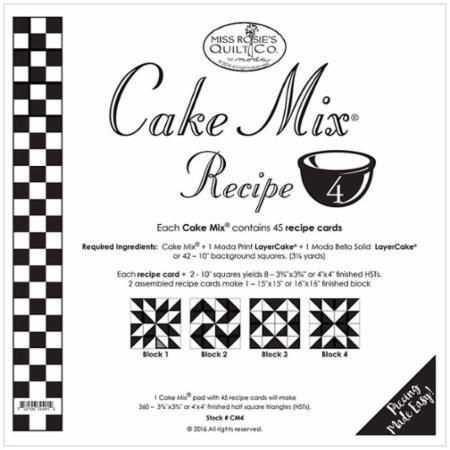 Cake Mix Receipe #4 ~45 Receipe Cards make 360 3 3/4'' x 3 3/4'' HST by MODA