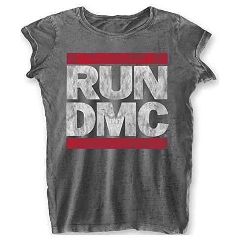 Rockoff Trade Run Dmc Logo Vintage Ladies Burnout Charcoal T-shirt (Black Logo Vintage T-shirt)