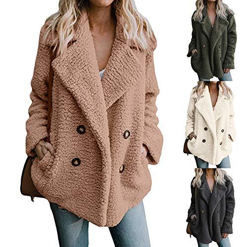 Artificiel Vêtements Manteau Pour Veste Sunnywill Revers De Femmes En D'hiver Kaki Laine qHxgS5
