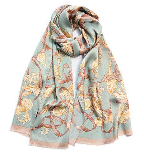 Scarves Brocade House Scarf and Winter Long Section of Ms. Scarf Silk Scarves Silk Shawl Female Embroidery Scarf Women Embroidered Scarves Light Green Shawl Wraps ()
