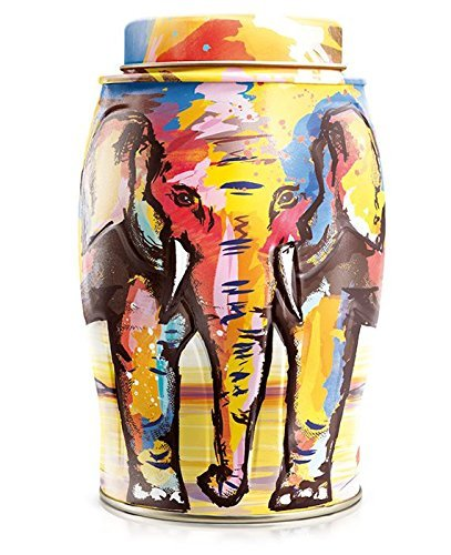 Breakfast Tea Caddy - Williamson Painterly Summer Elephant with 40 English Breakfast Tea bags Tea Caddy Tin