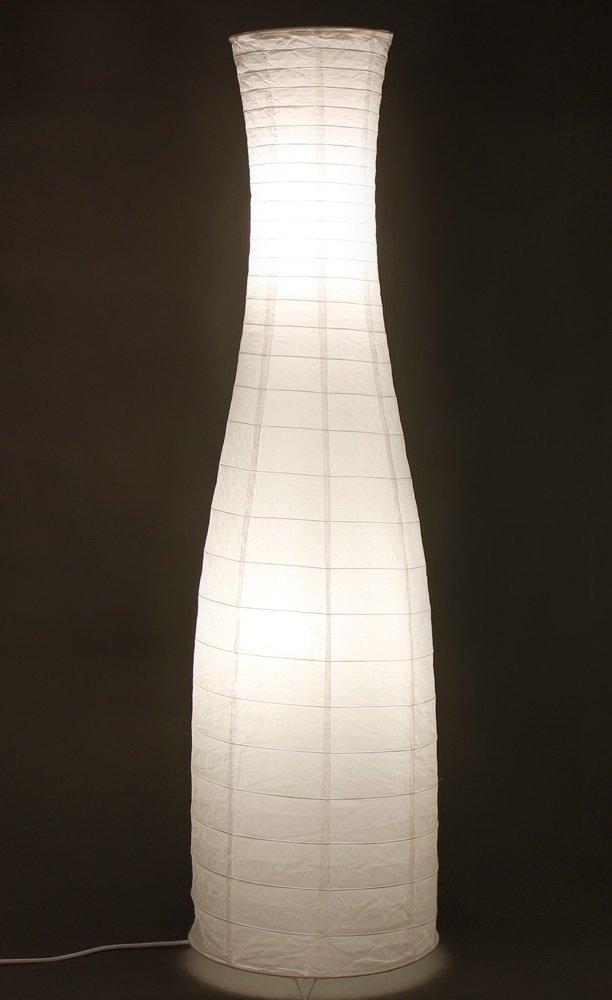 Trango Reispapier Stehleuchte Stehlampe in modernem Design mit floralem Muster 125 x 35cm (weiß-Floral inkl. 2x LED LM TG1240) [Energieklasse A+] Stehpapierleuchten
