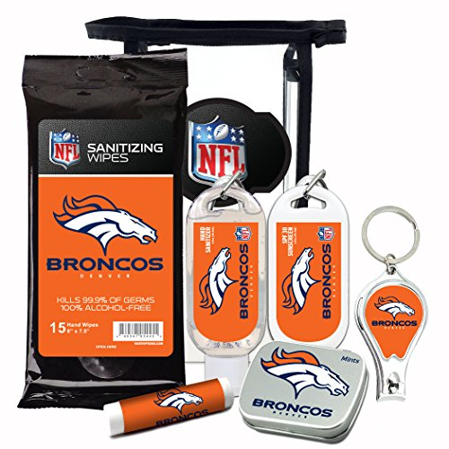 Denver Broncos 6-Piece Fan Kit with Decorative Mint Tin, Nail Clippers, Hand Sanitizer, SPF 15 Lip Balm, SPF 30 Sunscreen, Sanitizer Wipes. NFL Football Gifts for Men and Women