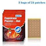 24 Pcs/3 Bags Hot Capsaicin Pain Patch Large (3.4'×3.7') Relief for Arthralgia, Back Pain, Stiff Shoulder, Muscular Pain, Porous Capsicum Heat Plaster with Waterproof and Flexible