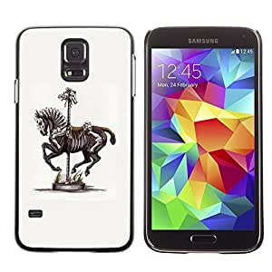 Colorful Printed Hard Protective Back Case Cover Shell Skin for SAMSUNG Galaxy S5 V / i9600 / SM-G900F / SM-G900M / SM-G900A / SM-G900T / SM-G900W8 ( Horse Skeleton Vintage Art Painting ) Kimberly Kurzendoerfer