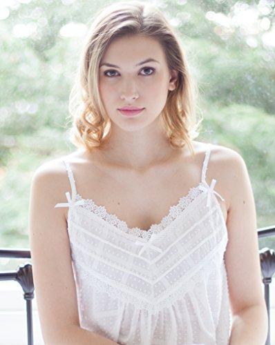 cottonreal 100% coton aux carreaux bretelles sexy–S à XL–Blanc