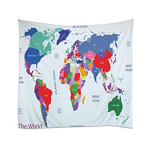 Price comparison product image Moslion Map Tapestry Geopolitical World Map Ocean Countries America Europe Asia Arctics Antarctic Wall Hanging Tapestries One Side Decorative Home Art Polyester for Living Room 60x60 Inch