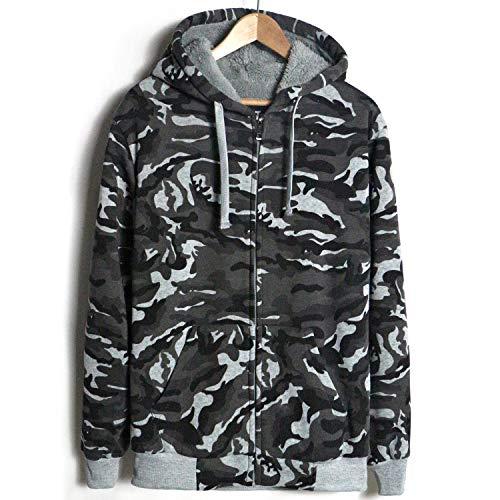 Leehanton Men's Sherpa Lined Heavyweight Fleece Hoodie Long Sleeve Full Zip Fashion Hoodies Sweatshirts  Camo Grey Large