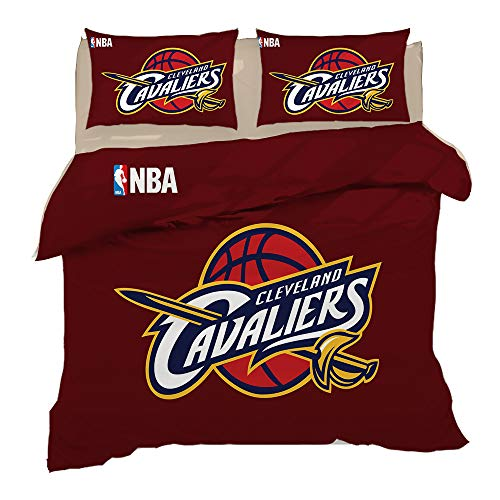 3-Piece Set Bedding,NBA Basketball Team Duvet Cover Pillowcase,Double Bed No Fade Soft Hypoallergenic Superfine Fiber Bedding Wine Red Green Yellow,Cleveland,Full