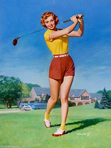 [1940s Pin-Up Girl Good Swing Golfer Golf Picture Poster Print Art Pin Up] (1940s Pin Up Girl)