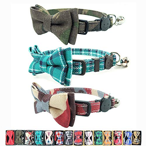 3PCS Cat Collar Bow Tie with Bell, Breakaway Kitten Collars Bowtie - Camouflage Green Plaid Cat Collar 6.8in-10.8in (Camouflage 1+Cyan+Camouflage 2)
