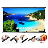 Excelvan HD Portable Projector Screen 16:9 Diagonal Wrinkle-Free Home Cinema Movie Projection Screen, Easy Install on Wall Mount, Strong Sticky Hook Included(120 inch)