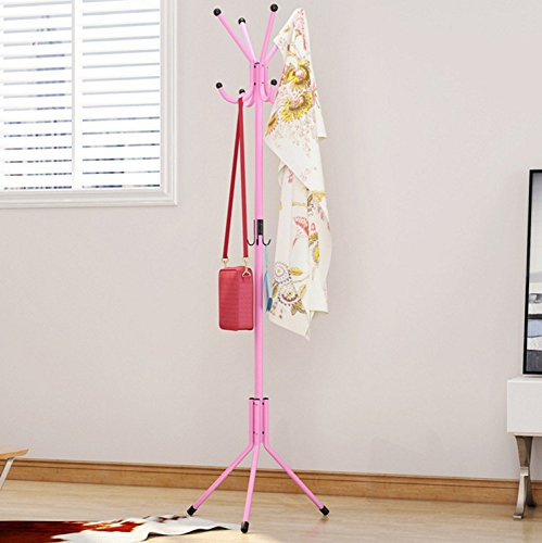 12 Hooks Metal Hat Coat Rack Clothes Stand Hangers Handbag Floor Standing Rack For Bathroom Living Room Garage Pink AZX