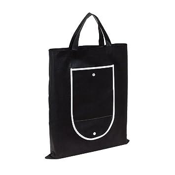 Bolsa de la compra bolsa negro plegable con botón Cerrar 40 ...