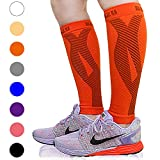 BLITZU Calf Compression Sleeve Leg Performance Support for Shin Splint & Calf Pain Relief. Men Women Runners Guards Sleeves for Running. Improves Circulation and Recovery (Tangerine, Small/Medium)