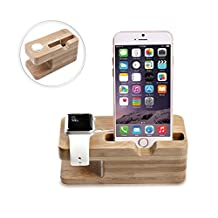 MoKo Apple Watch & iPhone Stand, Portable Bamboo Wood Dual Charging Stand Dock Station Stock Cradle Holder for Apple Watch Series 1 Series 2, iPhone 7 / 7 Plus / 6s / 6s plus / SE / 6