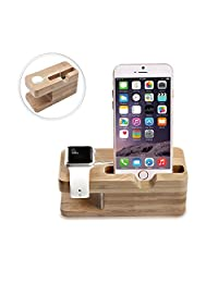Apple Watch Stand, MoKo Portable Bamboo Wood 2-in-1 Charging Stand Dock Station Stock Cradle Holder for Apple Watch Series 3 2017/Series 2, iPhone X, iPhone 8/8 Plus/7/7 Plus, Galaxy Note 8, SILVER