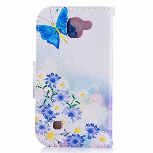 Yiizy LG K3 (2017) Funda, Blue Butterfly Diseño Solapa Flip Billetera Carcasa Tapa Estuches Premium PU Cuero Cover Cáscara Bumper Protector Slim Piel Shell Case Stand Ranura para Tarjetas Estilo