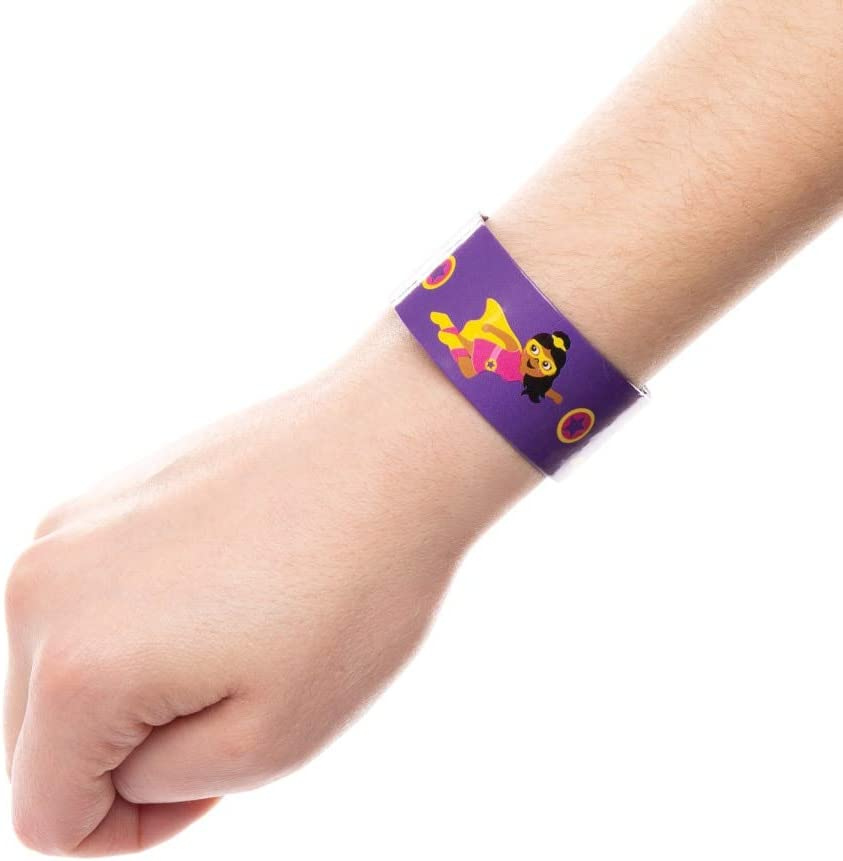 Baker Ross Star Hero Snap On Bracelets Colourful Slap On Bands for Kids Party Bag Filler or Gift Ideas Pack of 6