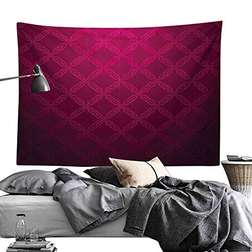 Tapestry Magenta Decor Victorian Damask Motif with Diamond Shaped Square Lines Middle Age Inspired Art Bedroom Home Decor W90 x L59 Rosewood ()