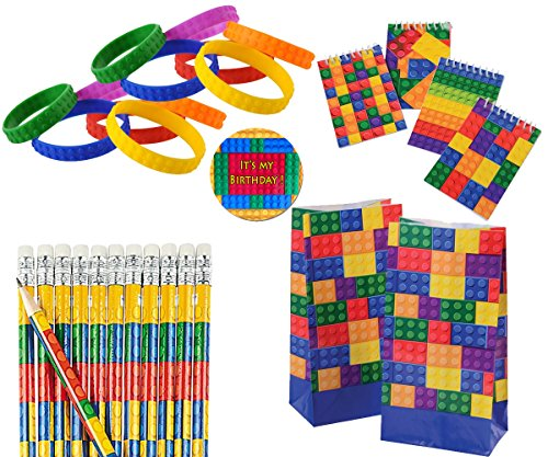 Brick Birthday Party Favors for 12 - Brick Notepads (12), Brick Pencils (12), Brick Wristbands (12), Brick Goody Bag, and Its My Birthday Sticker (Total 49 -