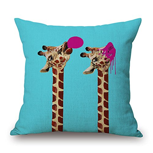 GATELEE Funny Giraffe and Bubblegum Pattern Cotton Linen Pillow Covers Square Animals Style Home Decor Throw Pillow Cases Pillowslip 18x18 Inches (D-Two Giraffe Blow Bubbles Together)