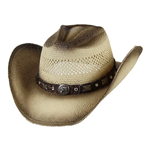 Saddleback Hats Shapeable Tea Stain Toyo Straw Cowboy Hat w/Concho Studs, Rancher Hat Pinch Front Straw