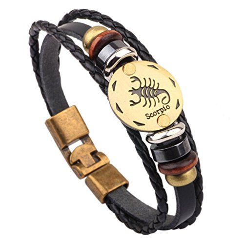 JSPOYOU Twelve Constellation Bracelets Fashion Jewelry Leather Personality Bracelet (L)