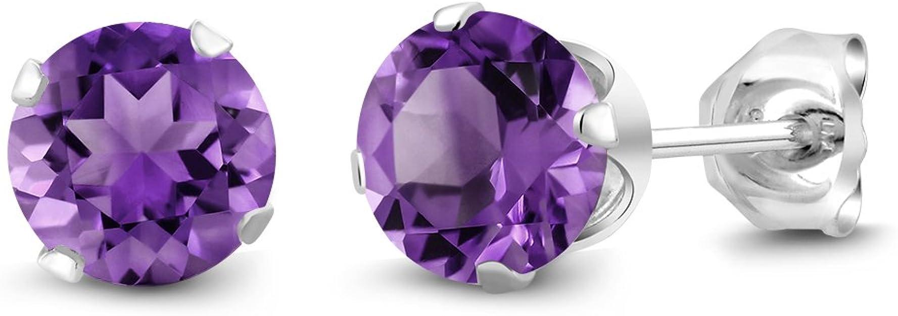 Purple Amethyst Rhinestone Pierced Earrings on a Sterling Silver Setting