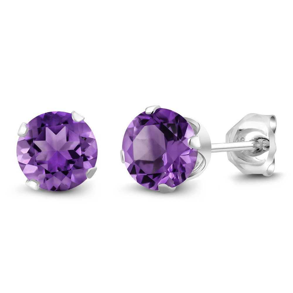 Sterling Silver Round Natural Purple Amethyst Women's Stud Earrings 6mm 1.50 Carat Total Weight WRC-20-AMETHYST-MFN