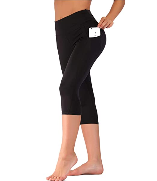 8d48f6d28b5 IMIDO Women's Yoga Capri Pants Sport Tights Workout Running Mesh ...