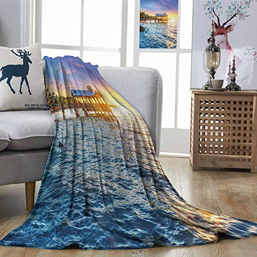 DILITECK United States Warm Blanket Pier at Beach in Key West Florida USA Tropical Summer Paradise Can be Used on Sofa Pale Blue Yellow Green W54 xL84 (Best Pizza In Key West)