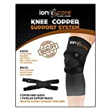 ionocore Knee Support Copper Compression - with patellar Knee Strap Brace + Support Sleeve. Small: 13.5'-15'
