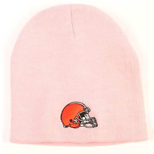 New NFL PINK Cleveland BROWNS (Helmet) Knit HAT Cap Classic 100% Licensed-Winter Skull Ski Cap