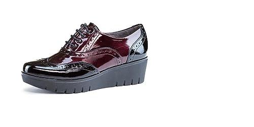 Zapato mujer plataforma cuña muy cómodo, marca PITILLOS, charol negro combinado gris, tipo