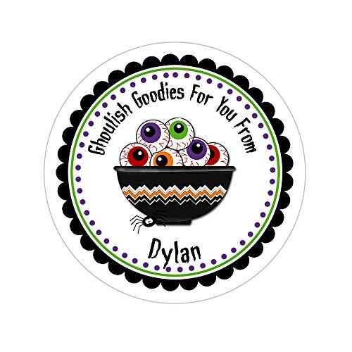 Personalized Customized Halloween Party Favor Thank You Stickers - Bowl of Eyeballs - Round Labels - Choose Your Size (Bowl Round Eye)