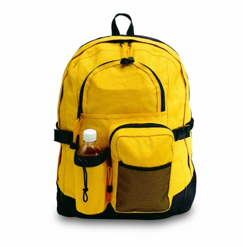 Bags for Less Travelers Multi-pocket Backpack, Yellow Front Zipper Gusset Pocket