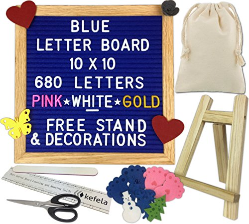 Blue Felt Letter Board 10x10 - Stand, Decorations, Bag, Scissors, File, Guide - Vintage Oak Frame & 680 Changeable Pink White Gold Letters - for Announcements, Gift, Photo Prop, Quotes, Toy, etc. - Fabric Oak Color Frame