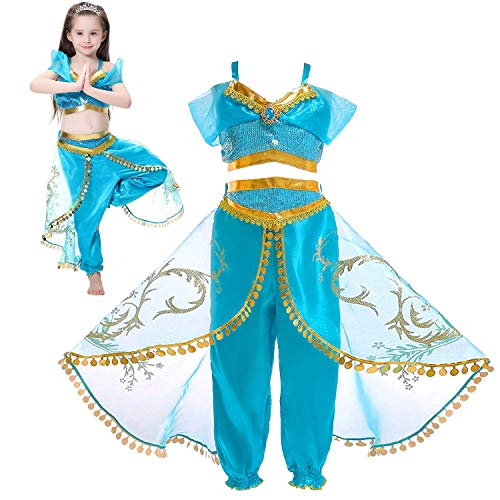 (Tacobear Princess Jasmine Costume for Girls Arabian Sequined Jasmine Dress up with Wig Tiara Wand Cosplay for Kids (110(3-4T), 03 Jasmine)