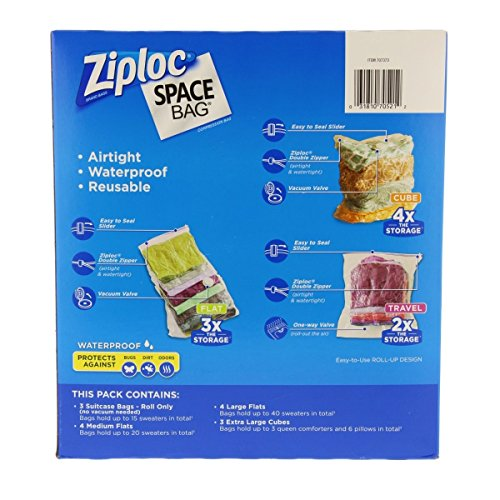 Ziploc Space Bag 15 Bag Space Saver Set (2 XL, 5 L, 4 M, 4 Travel)