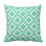 TORASS Throw Pillow Cover Custom Green Ikat Tribal Diamond Aztec Southwest Chic Decorative Pillow Case Home Decor Square 16 x 16 Inch Pillowcase