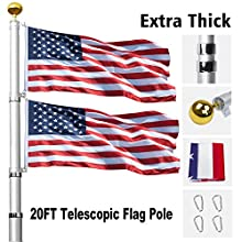 Klvied 20FT Telescopic Flag Pole, Tangle Free Flagpole Kit Fly 2 Flags, Heavy Duty Extra Thick Aluminum Flag Pole with 3x5 America Flag, Golden Ball Top for Commercial, Residential, Outdoor Use