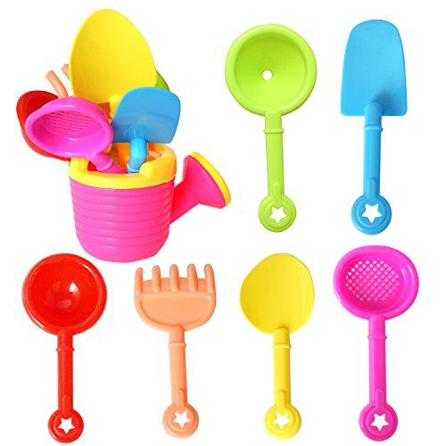 rainbow yuango 7PCS Sprinkler Beach Toys Set Shovels, Rakes, Net, Funnel, Ladle Sand Bucket Toys Party Favors Kids(K2-6001)