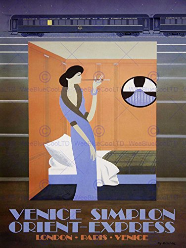 TRAVEL RAIL TRAIN ORIENT EXPRESS VENICE LONDON PARIS TUNNEL RETRO POSTER - Priority Delivery Time Mail Express