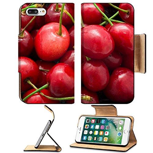 Luxlady Premium Apple iPhone 7 Plus Flip Pu Leather Wallet Case iPhone7 Plus 26165802 Beautiful red fresh cherry macro photo ()