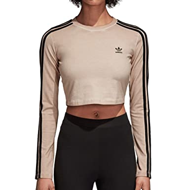 e14383286990 Adidas Women Originals Long Sleeve Crop Top at Amazon Women s Clothing  store